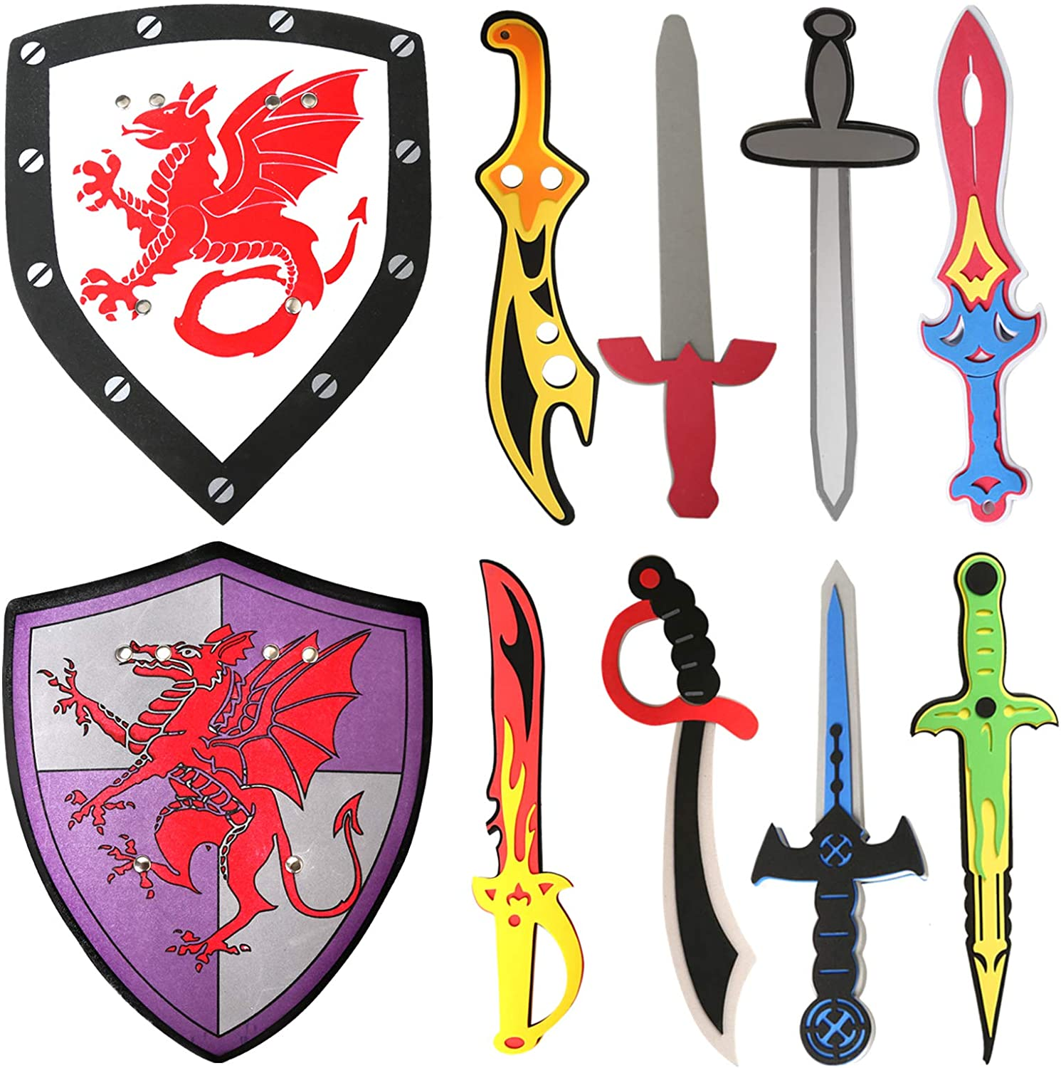 OUFOTAT 10 Piece Foam Swords Shield Toy for Kids Pretend Play Medieval Ninja Prince Warrior Knights Weapons Toys for Boys Role Play Accessories Party Favor Gifts