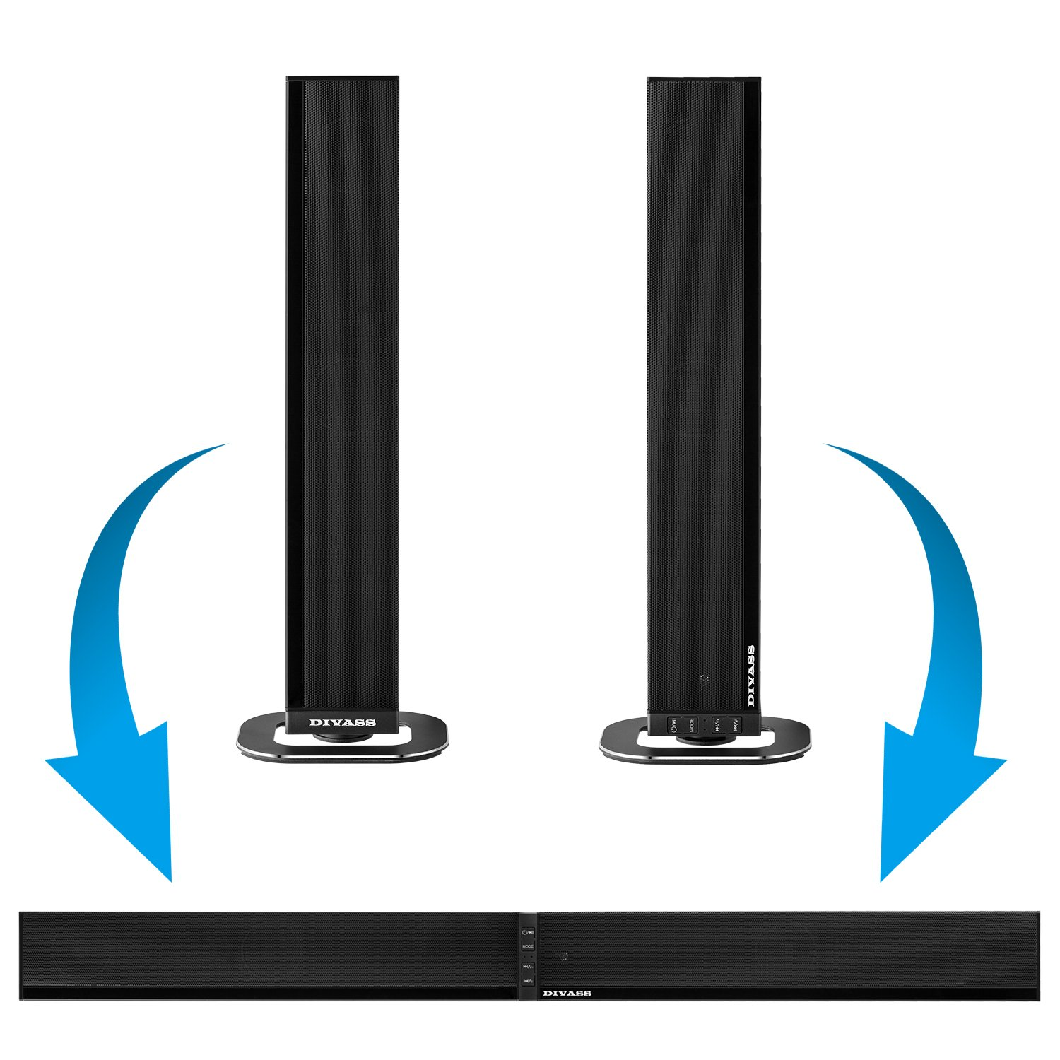 Soundbar DIVASS Assembled Sound Bar Wired and Wireless Split Bluetooth Speaker For TV, PC, Cell Phone, Audio Device by DIVASS