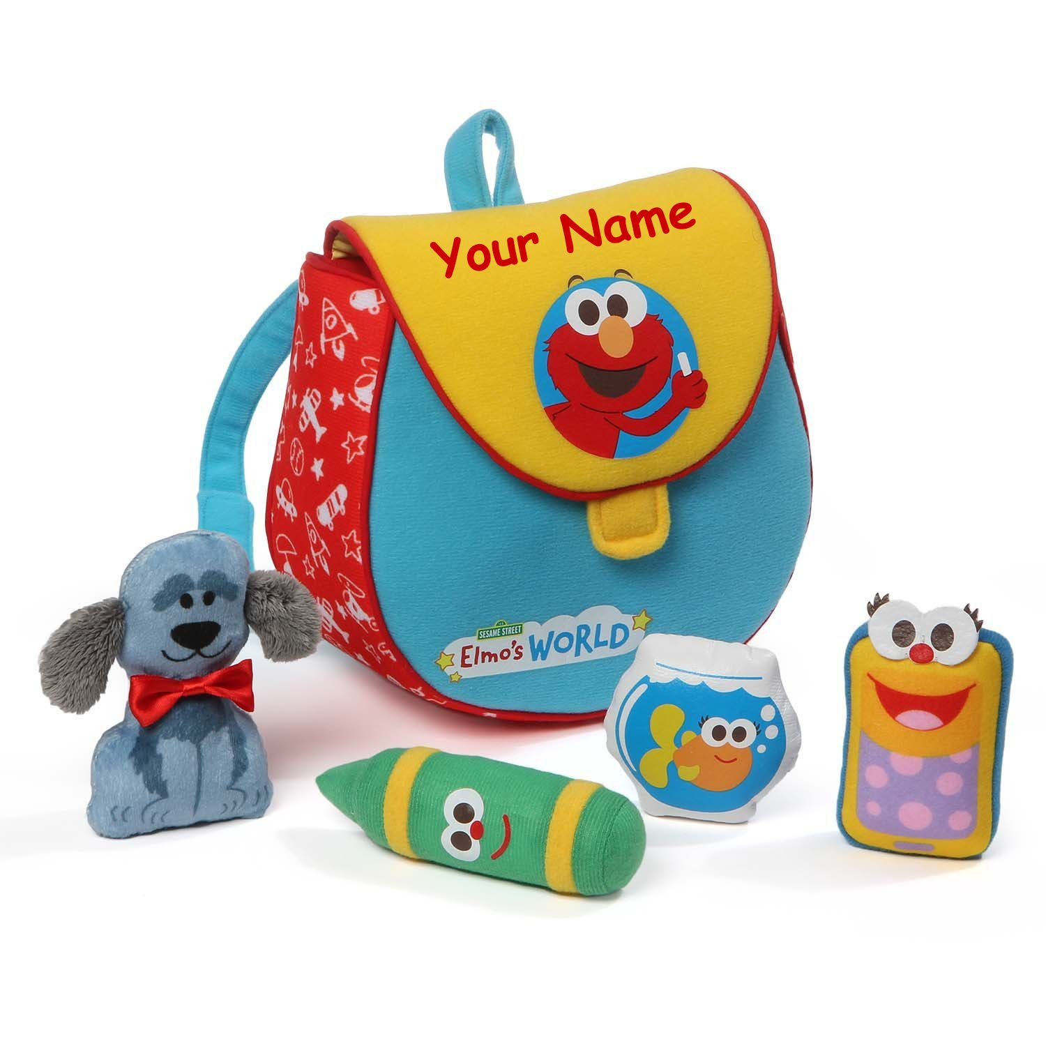 Personalized Sesame Street Elmo's World Playset with Mini Plush Bookbag - 7.5 Inches by GUND (Image #1)
