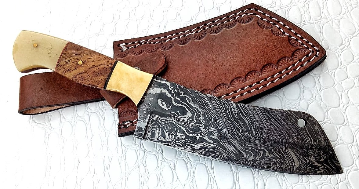 Ottoza Handmade 10 inch Damascus Chopper Cleaver Chef Knife Handmade Bone & Wood Handle Leather Sheath No:55