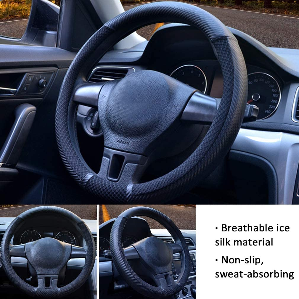 Pahajim Leather Car Steering Wheel Cover Universal 15 inch//38CM Breathable Anti-slip Protector for Man and Woman(2-Blue