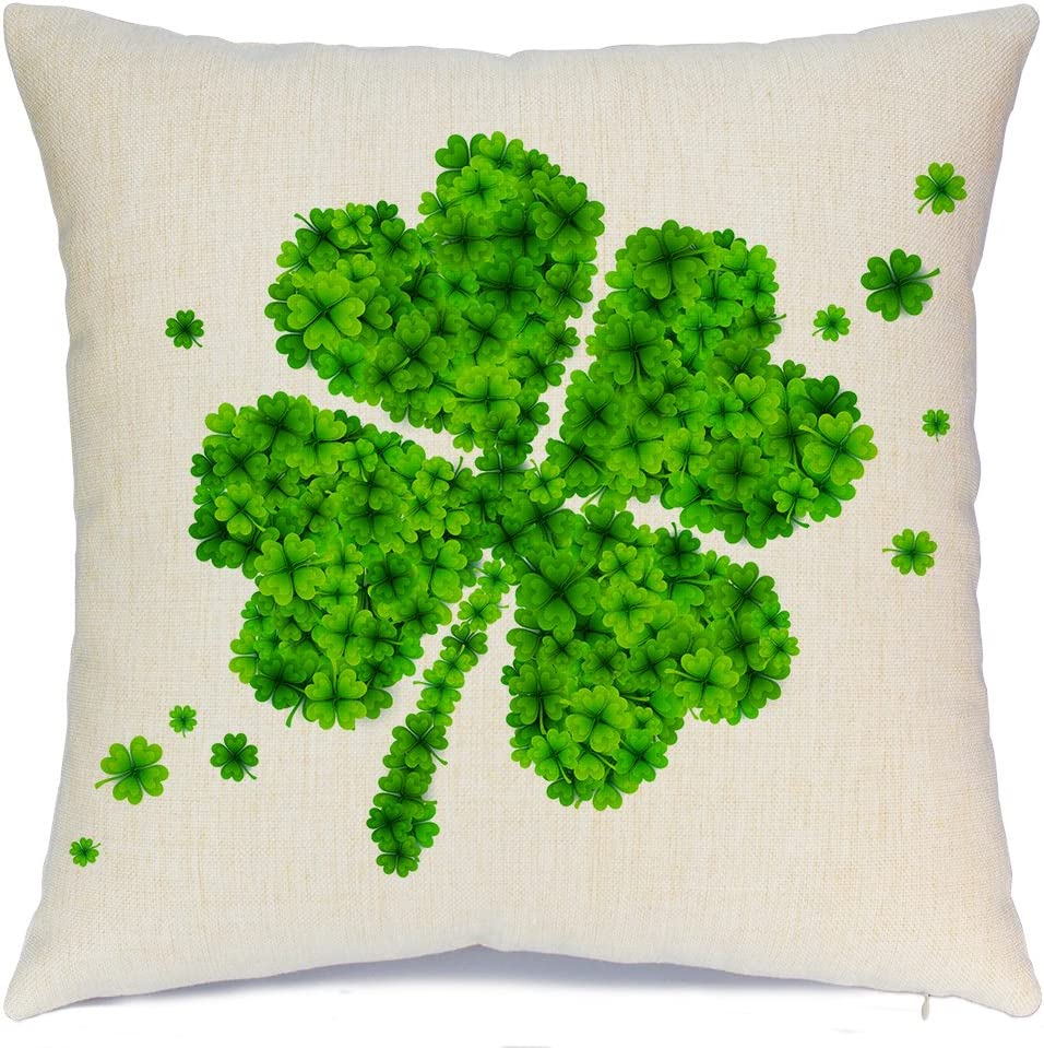 AENEY St. Patricks Day Green Lucky Clover Spring Home Decorative Throw Pillow Case Cushion Cover Saint Patricks Day Cotton Linen Home Decor for Couch Sofa Bed Chair 18 X 18 Inch