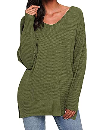 c7170f01eb6c55 Kenoce Women s Sweater Long Sleeve V Neck Loose Solid Kintted Pullover  Causal Sweaters Top Green Szie