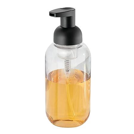 mDesign Juego de dos dosificadores de jabón en espuma - Dispensador de jabón de plástico resistente con válvula - Transparente/negro mate - Ideal para la ...