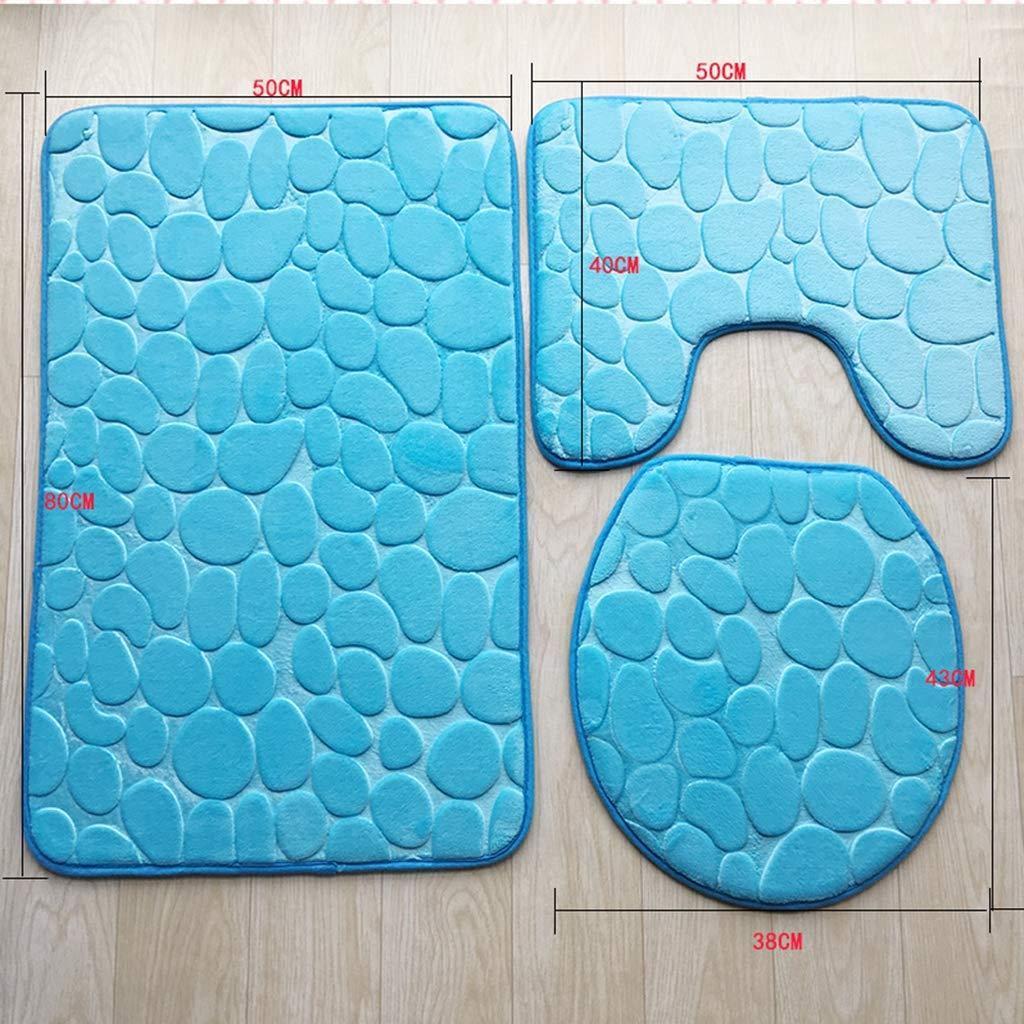 LIAOLEI10 Tappetino da Bagno /Tappeto piedistallo Antiscivolo per Bagno 3 Pezzi Blu Set Lavabile Tappetino da Bagno Coperchio copriwater