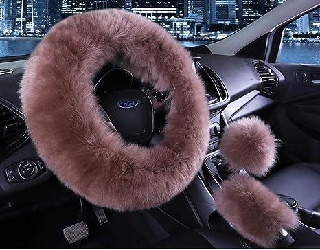 amazon com universal 3 in 1 furry steering wheel cover wool furuniversal 3 in 1 furry steering wheel cover wool fur handbrake cover fit most car bean
