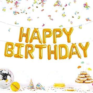 JZK Letras de Oro Globos Aluminio Happy Birthday, Feliz cumpleaños Banner Bandera para niños Adultos cumpleaños Fiesta decoración Suministro Accesorio