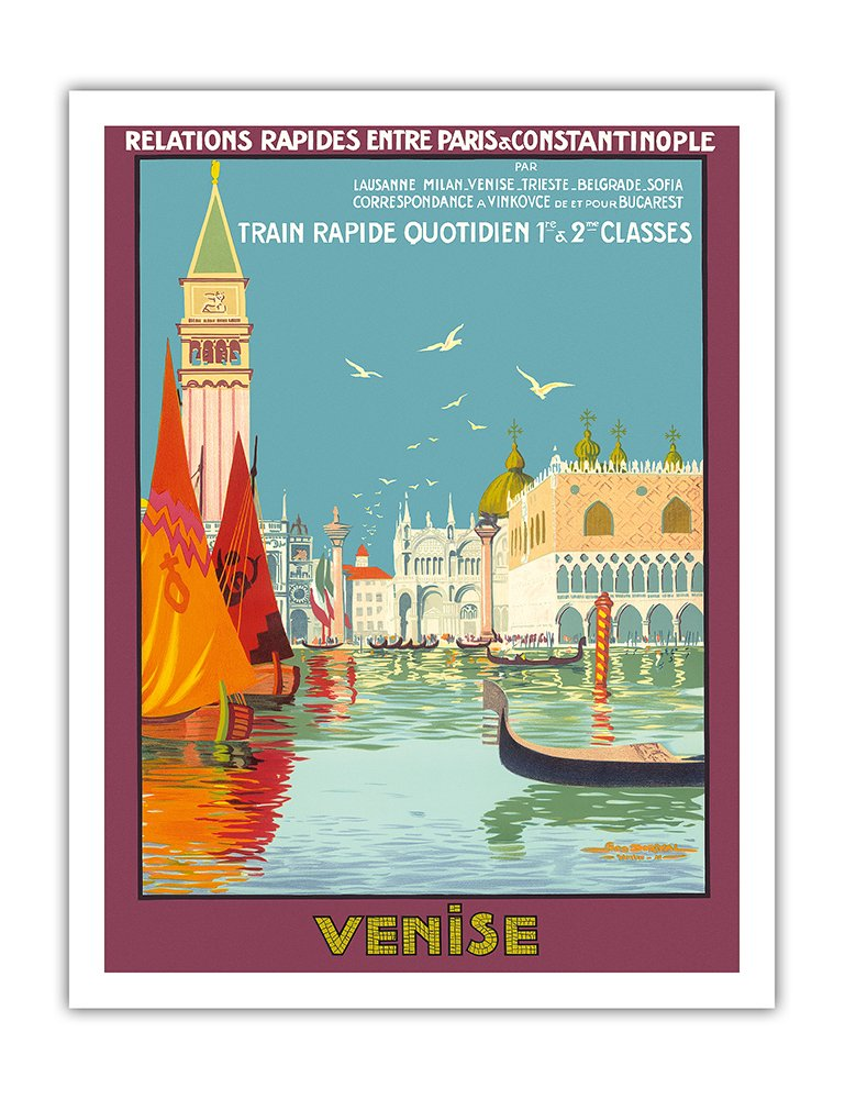 ヴェネツィア、イタリア ベネチアの大運河 毎日の高速列車 ビンテージな鉄道旅行のポスター によって作成された ジオ ドリバル c.1921 キャンバスアート 28cm x 36cm キャンバスアート(ロール) B01M1ER2PM 28cm x 36cm キャンバスアート(ロール) 28cm x 36cm キャンバスアート(ロール)