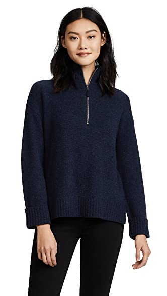 360 SWEATER Women's Essence Half Zip Cashmere Sweater, Navy, Small ...