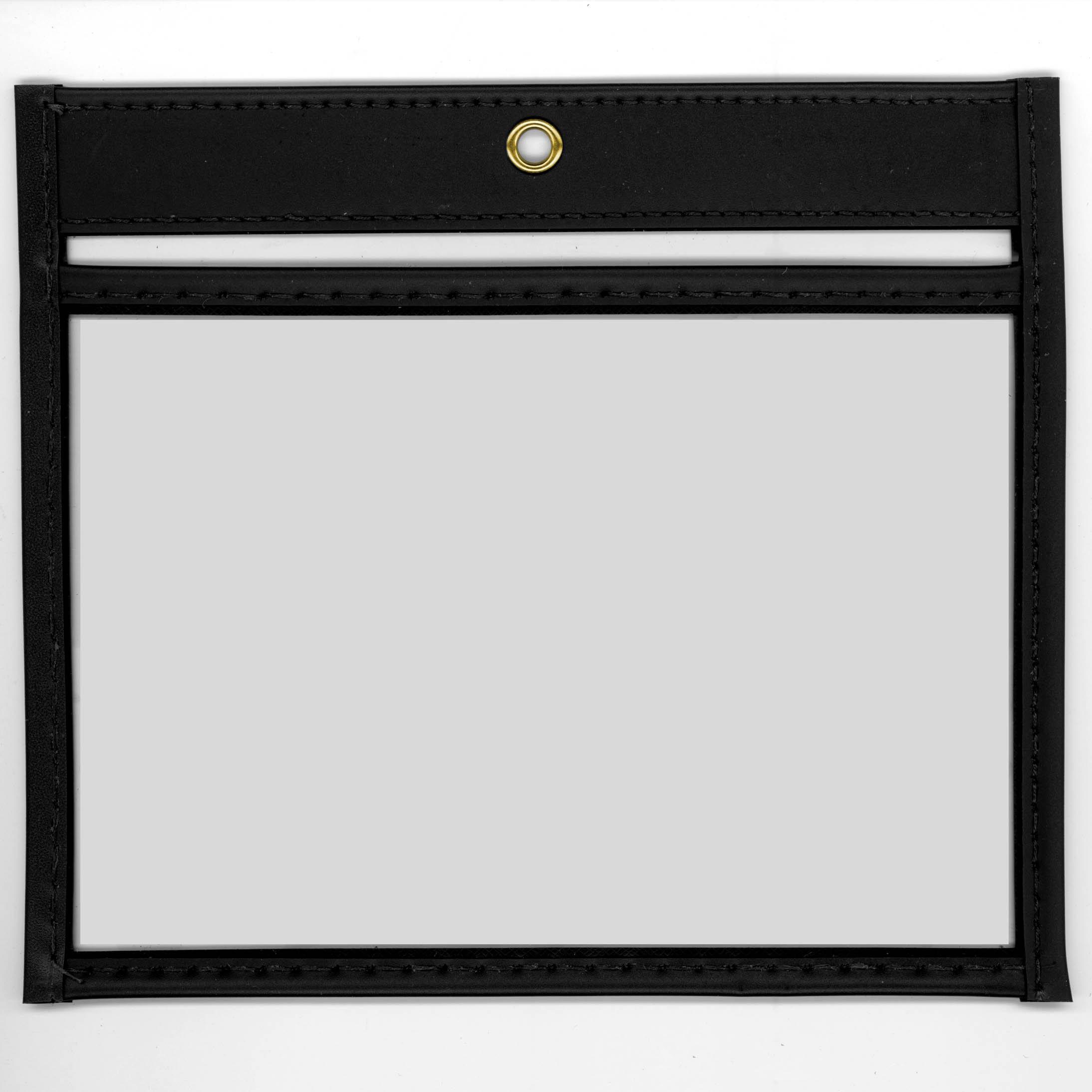 StoreSMART - 6'' x 4'' - Open Long - Black Rigid Vinyl Sewn Pocket - 50-Pack - Photo Size - T85201L-BK-50