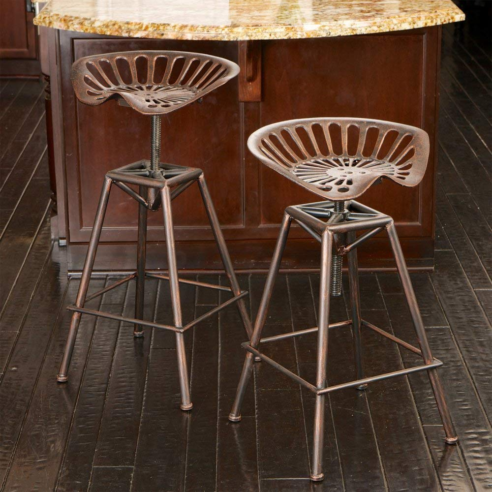 Copper Charlie Saddle Bar Stool, Copper