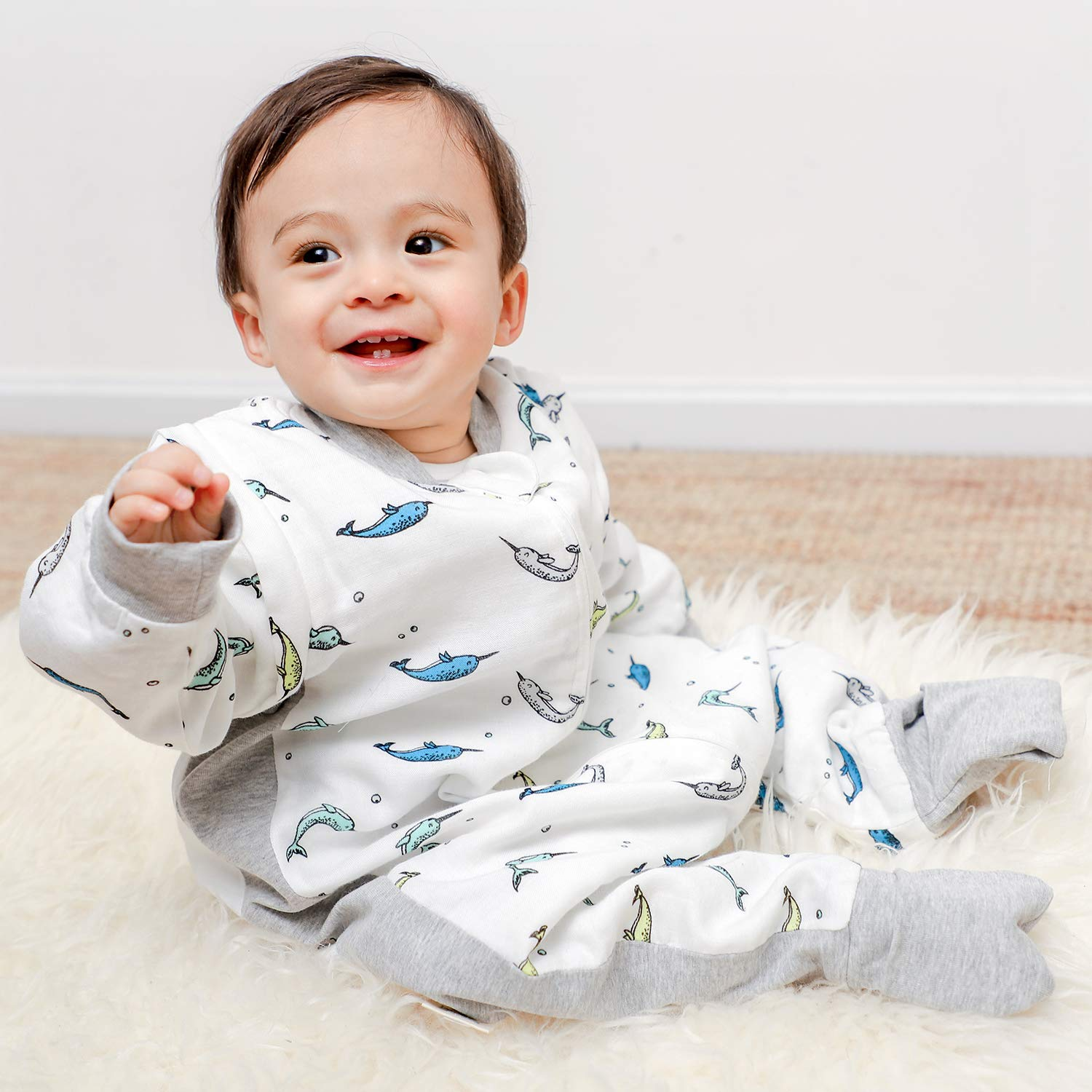 the best attitude 1d3c0 8ab57 Muslin Baby Sleeping Sack with Feet Summer, Bamboo Wearable Sleep Bag with  Legs for Toddler,...