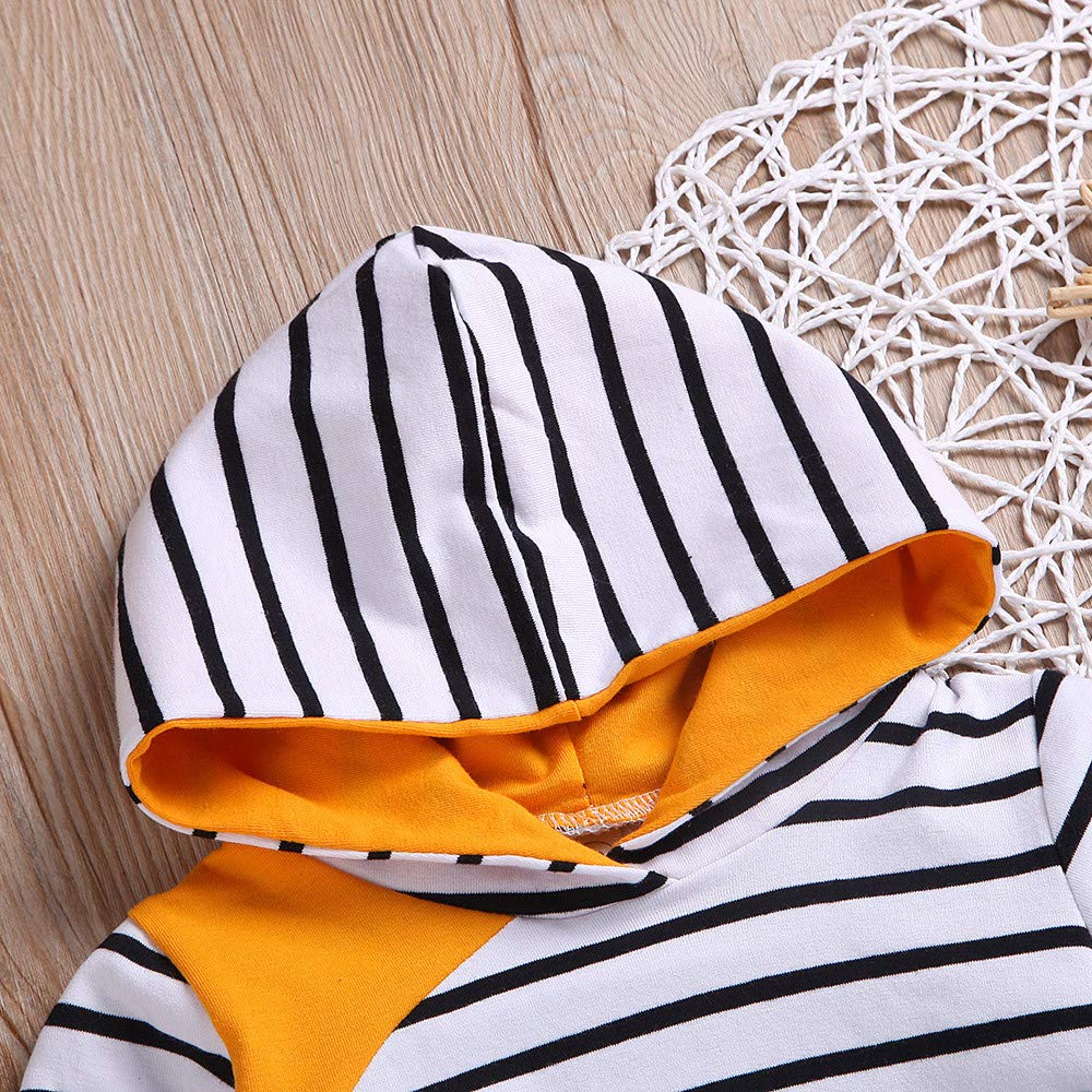 TheRang Toddler Kids Baby Boy Girl Hoodie Tops Striped Pants Leggings Outfit Set Clothes