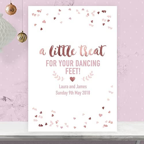 951c64f5ee76d8 Personalised A Little Treat For Your Dancing Feet Wedding Table Sign In  Rose Gold Effect and Blush Pink (RGP82)  Amazon.co.uk  Handmade