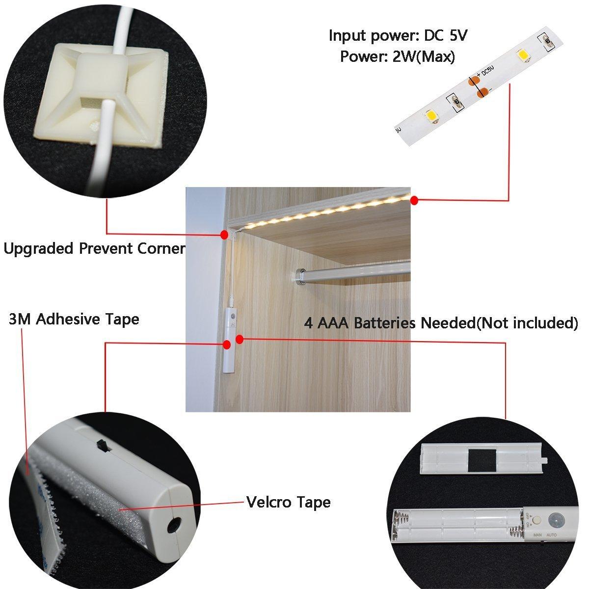LED Luz nocturna de modo dual, Luces debajo del gabinete, Luz LED Sensor de movimiento flexible con luz de cierre automático Luz de armario para gabinete de ...