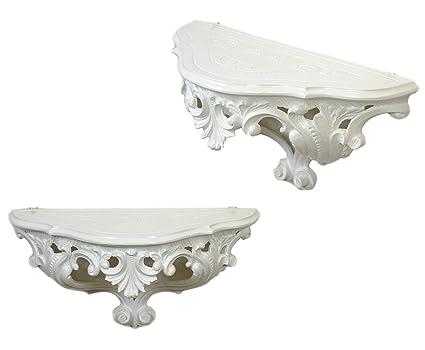 Repisa blanca de estilo barroco de la época de Luis XVI ...