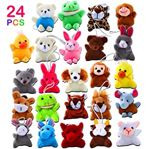 ThinkMax 24 Pack Mini Animal Plush Toy Assortment for Kids Party Favors