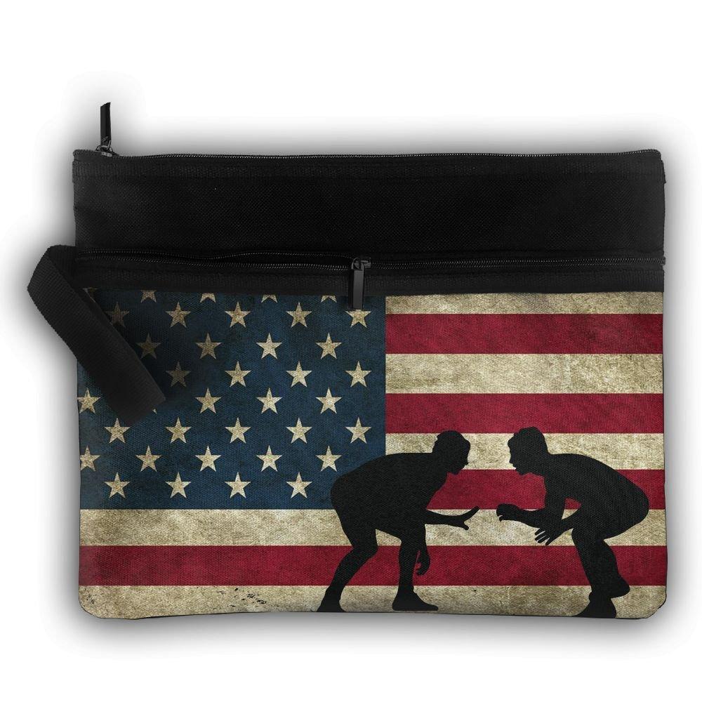 American Flag Wrestling Oxford Travel Portable Hanging Toiletries Bag Organizer Cosmetic Make Up Bag