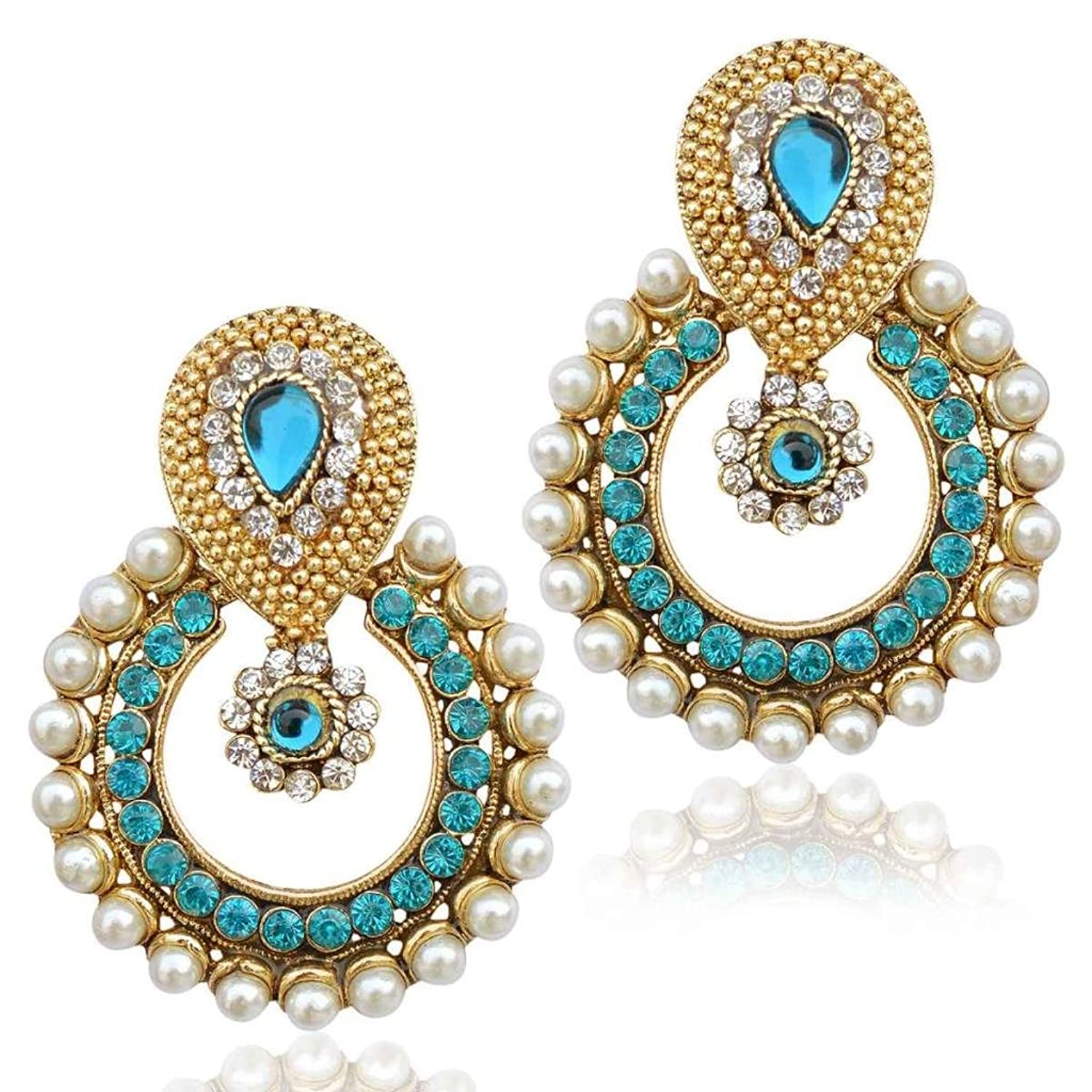 Amazon.com: Firozi earrings bridal jewellery sets earrings Indian ...