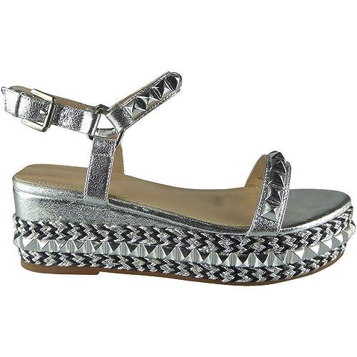 Mujer con Tachuelas Cuña Baja Alpargatas Plataformas Sandalias Tira en Tobillo Talla: Amazon.es: Zapatos y complementos