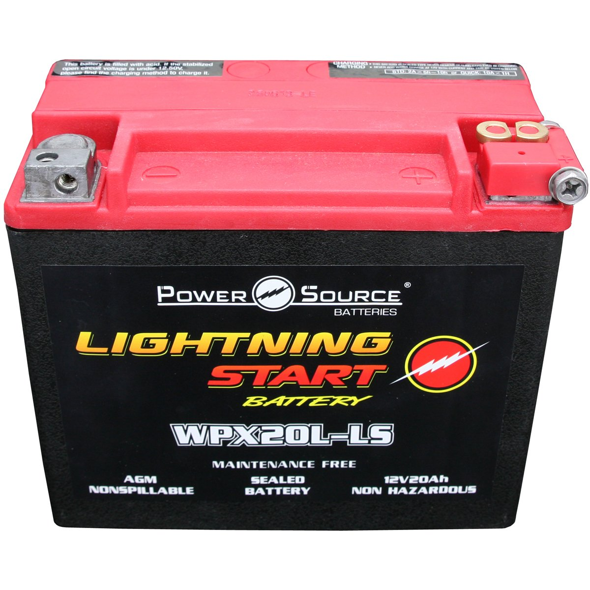 YTX20HL-BS, YTX20HL, YTX20L-BS, YTX20L, GYZ20HL, 4011496 Replacement Battery 500cca Ultra High Performance Lightning Start WPX20L-LS Sealed AGM for Motorcycle, ATV, Jet Ski, Snowmobile, Side x Side, Honda, Yamaha, Kawasaki, Ski-Doo, Pure Polaris, Can-Am, B