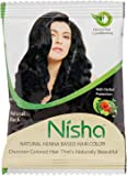 Nisha Henna Hair Color with Sahiba Hair dye Brush Natural Black/10 gram (Pack of 5)