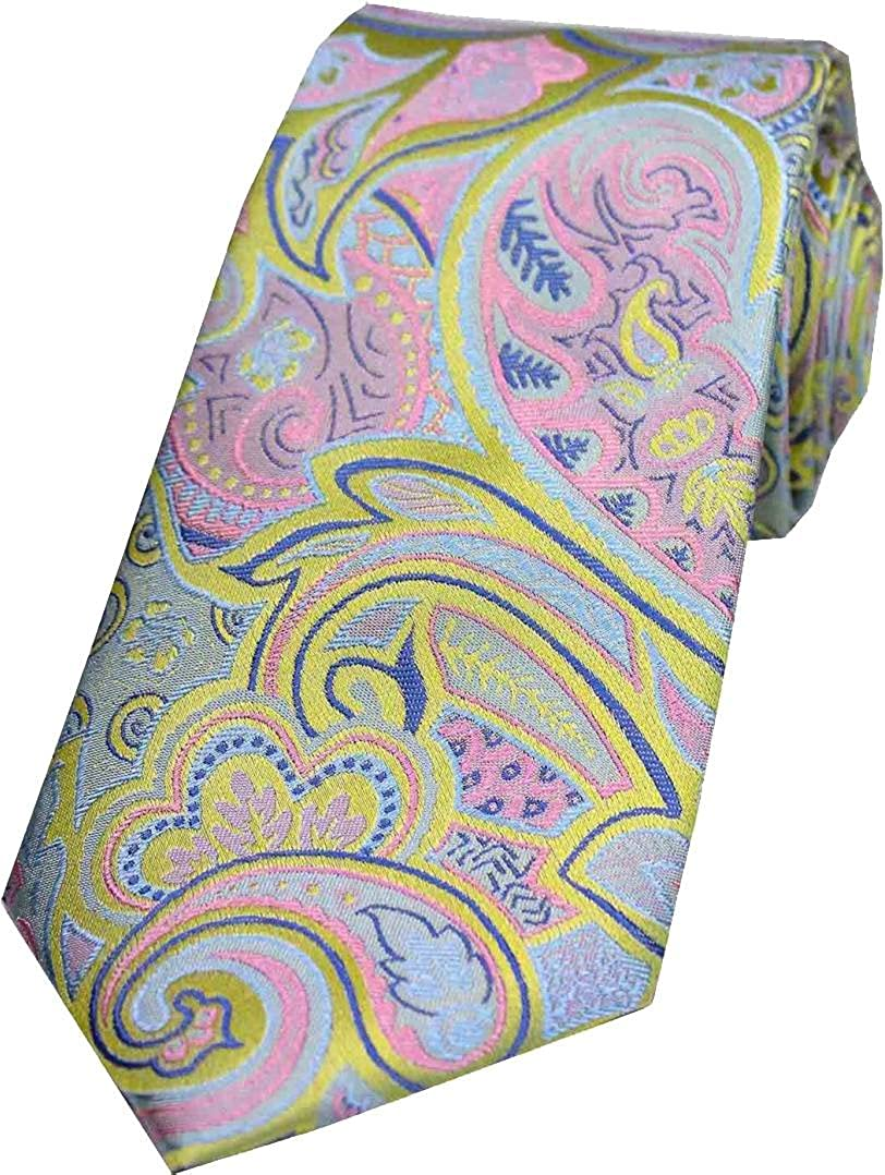 Posh and Dandy Mens Edwardian Paisley Silk Tie Lemon Yellow//Pink