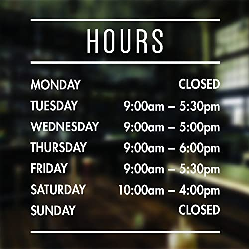 Opening hours sign opening times sign for shop window sticker open closed sign business hours personalised
