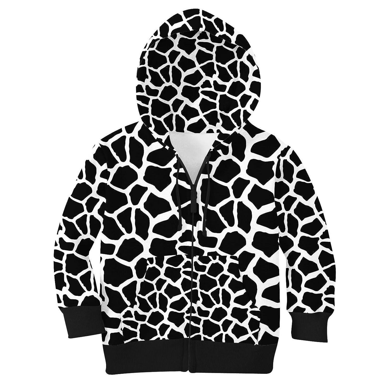 White 10 Bright Giraffe Print Kids Zip Up Hoodie Unisex