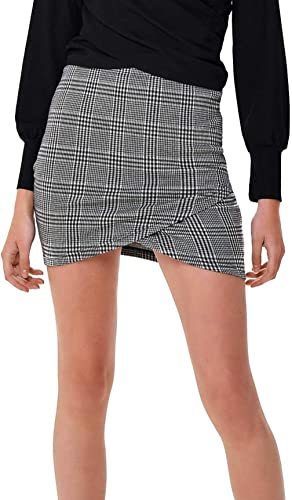 Only ONLVIGGA Skirt JRB Mini Falda Cuadros Estrecha (S, Black ...