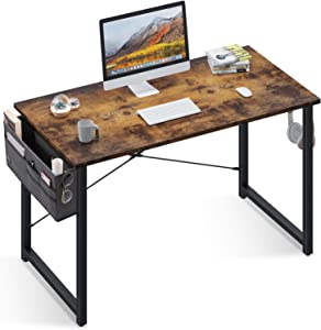 Computer Writing Desk 47 inch, Sturdy Home Office Table, Work Desk with A Storage Bag and Headphone Hook, Vintage