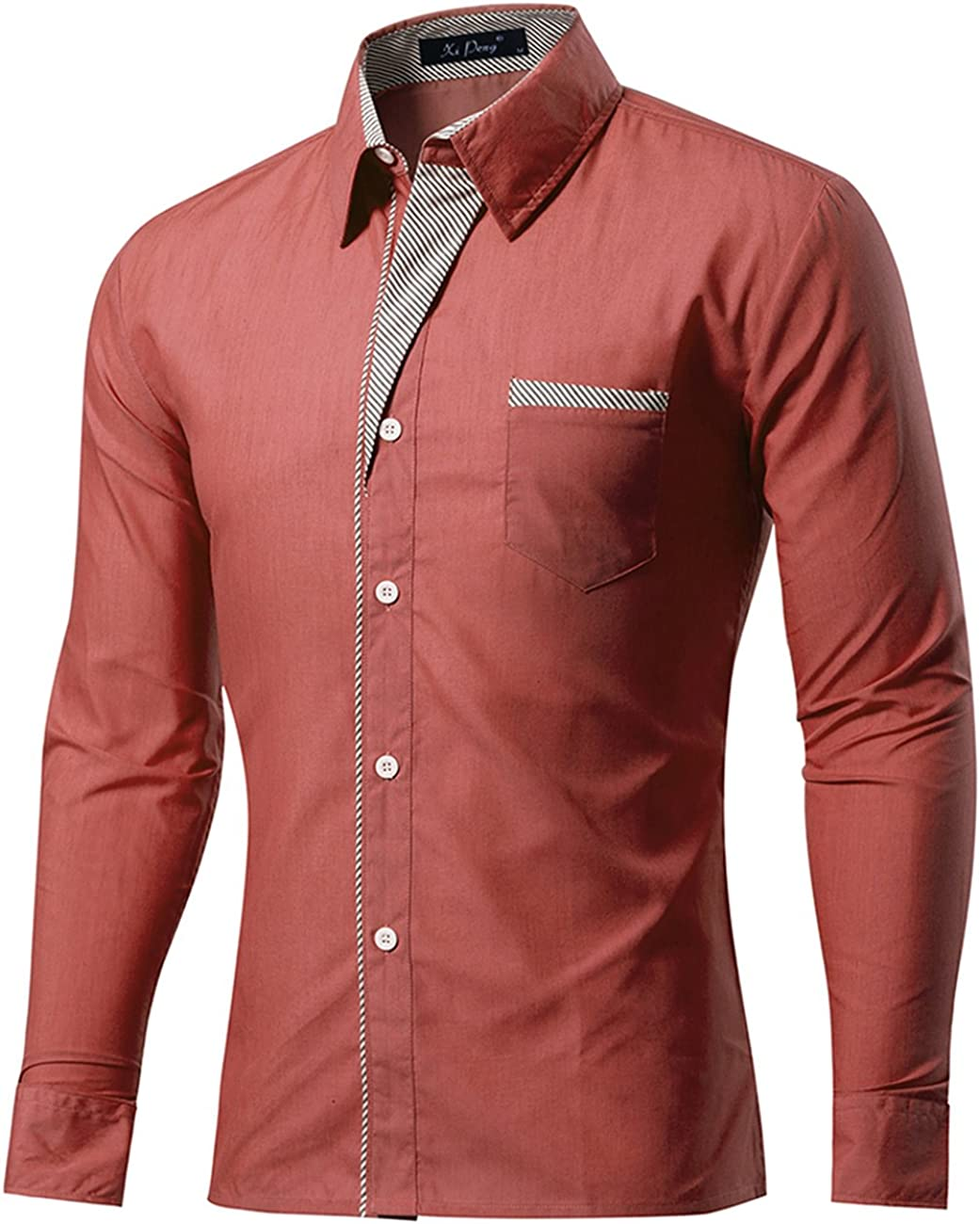 Freedom Mens Short Sleeve Stripes Button-Collar Cotton Fitted Casual Shirt