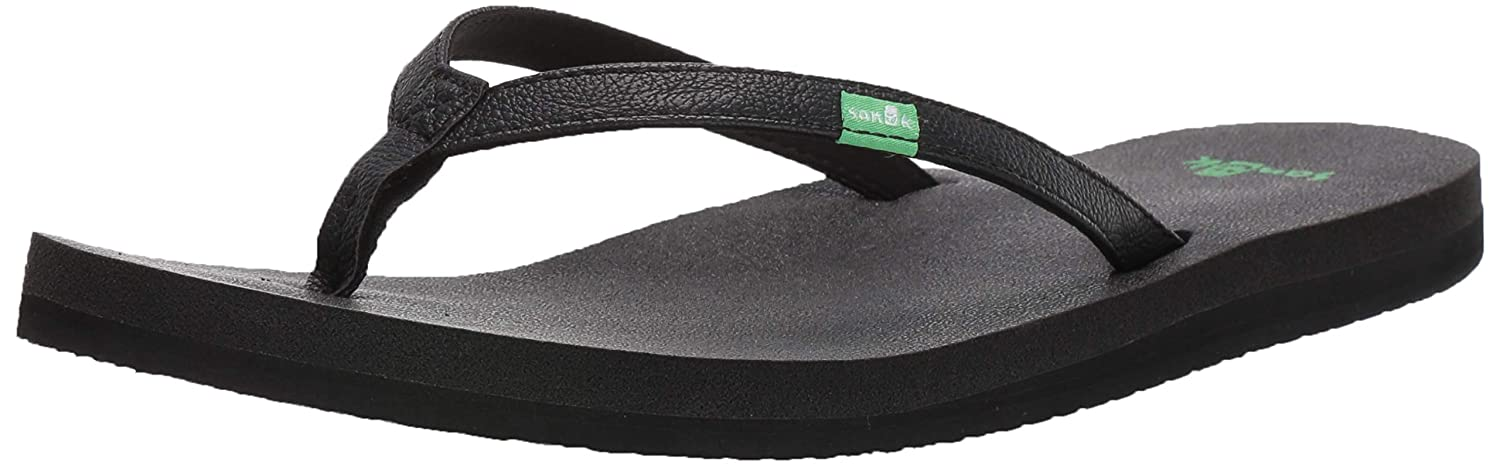 Sanuk Womens Yoga Joy Flip-Flop (40 M EU / 9 B(M) US, Black ...