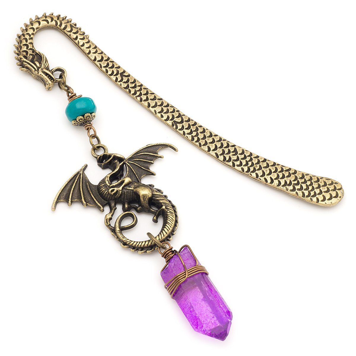 Purple quartz crystal gemstone point dragon bronze metal unique bookmark