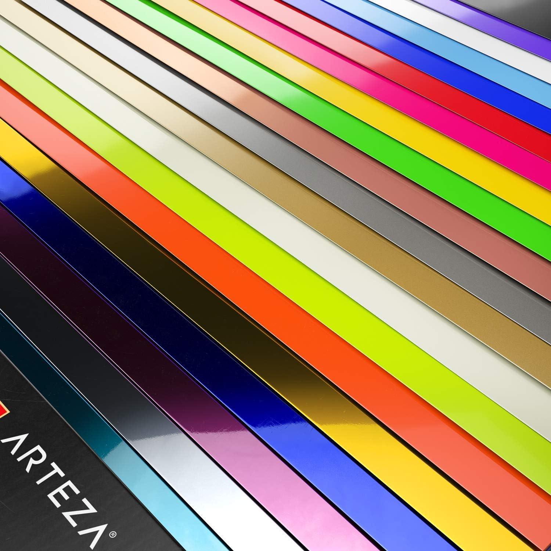 Arteza Vinilo textil termoadhesivo | 30,5 x 30,8 cm | Caja de 20 hojas flexibles | Vinilo térmico resistente, fácil de pelar y sin tóxicos | Apto para cualquier máquina de corte | Colores surtidos: Amazon.es: Hogar
