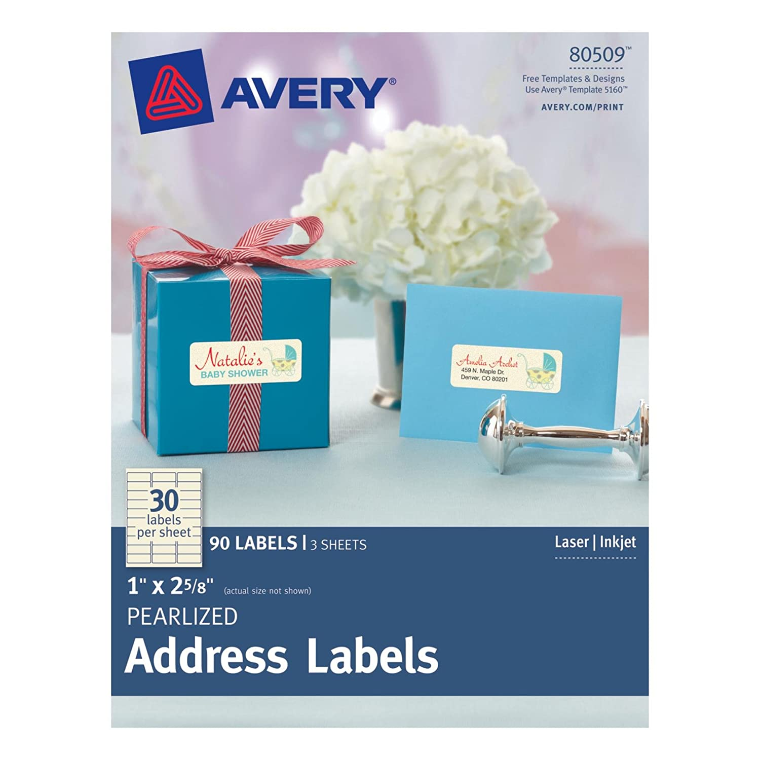 Amazon Avery Pearlized Address Labels 0 1 X 2 5 8 Pack Of 240 8215 Office Products