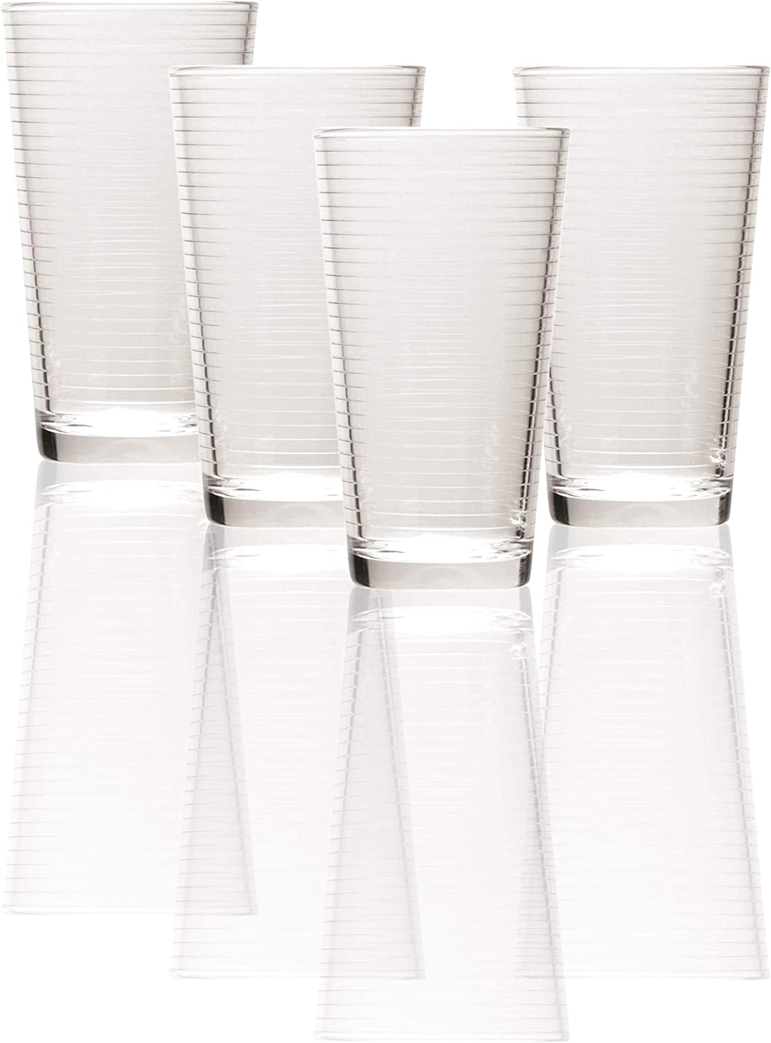 Clear Set of 4 4 pc Theory1 Circleware 44107 Theory Drinking Glasses 17 oz