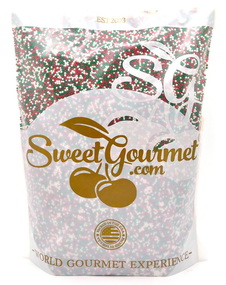 SweetGourmet Jingle Mix - Christmas Sprinkles & Nonpareils (15oz) by SweetGourmet
