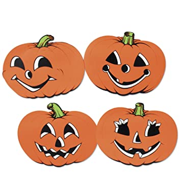 pkgd pumpkin cutouts 4pkg - Halloween Cutout Decorations