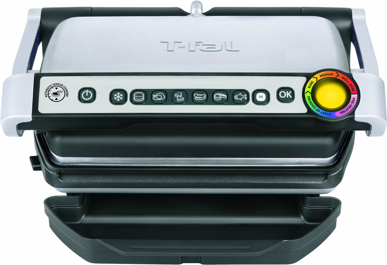 T-fal GC70 OptiGrill Electric Grill, Indoor Grill, Removable Nonstick Dishwasher Safe Plates, 4 Servings, Silver by T-fal