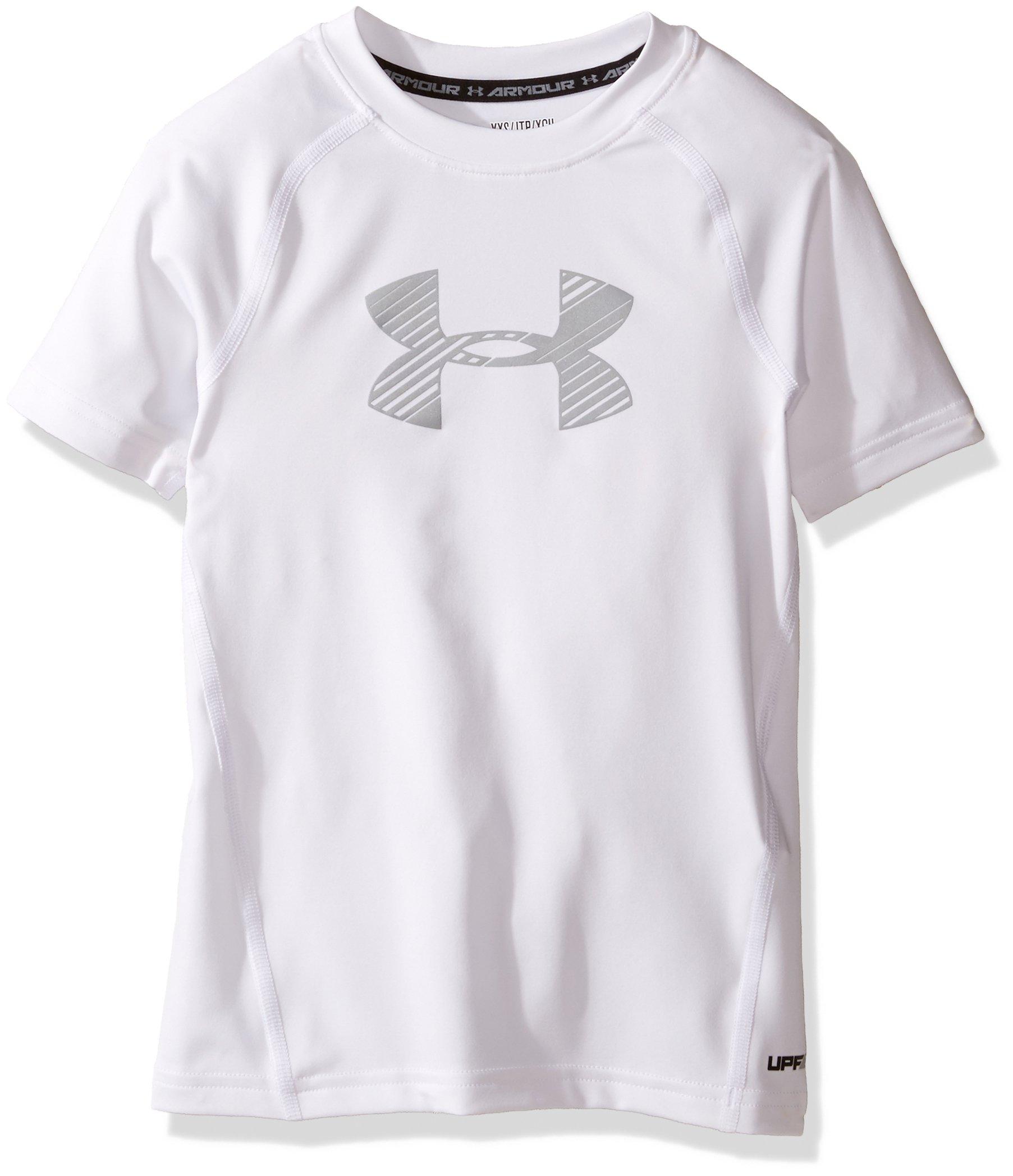 557d7a4052 Under Armour Boys Heatgear Armour Short Sleeve Fitted Shirt, White  (101)/Overcast Gray, Youth X-Small