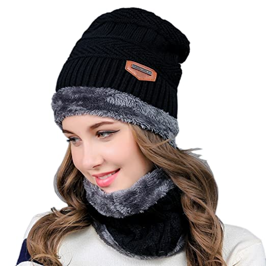 26305a83cf3fe5 2-Pieces Winter Knit Hat and Circle Scarf with Fleece Lining, Warm Beanie  Cap