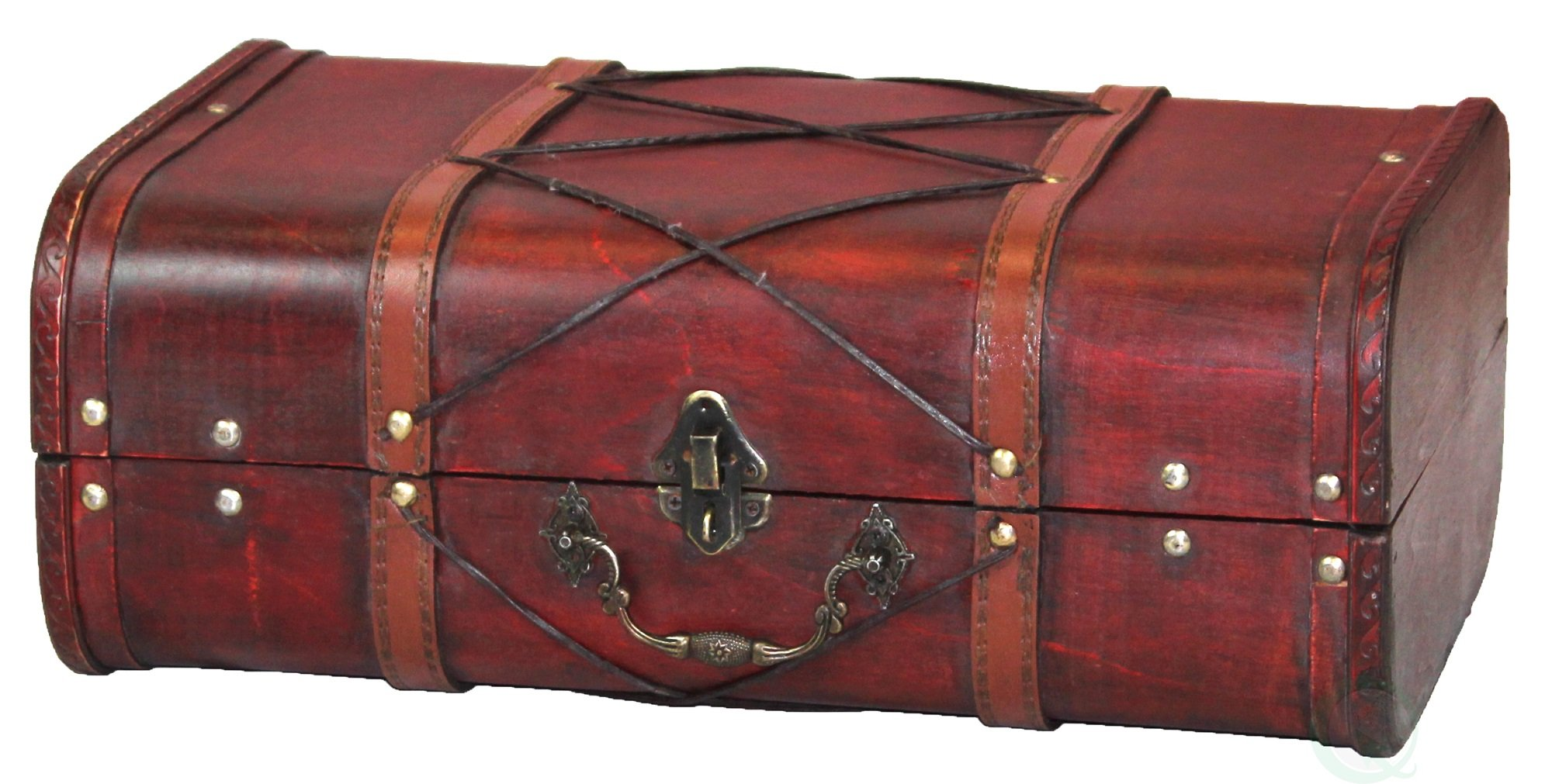Vintiquewise QI003234 Antique Cherry Wooden Suitcase with Leather X Design by Vintiquewise