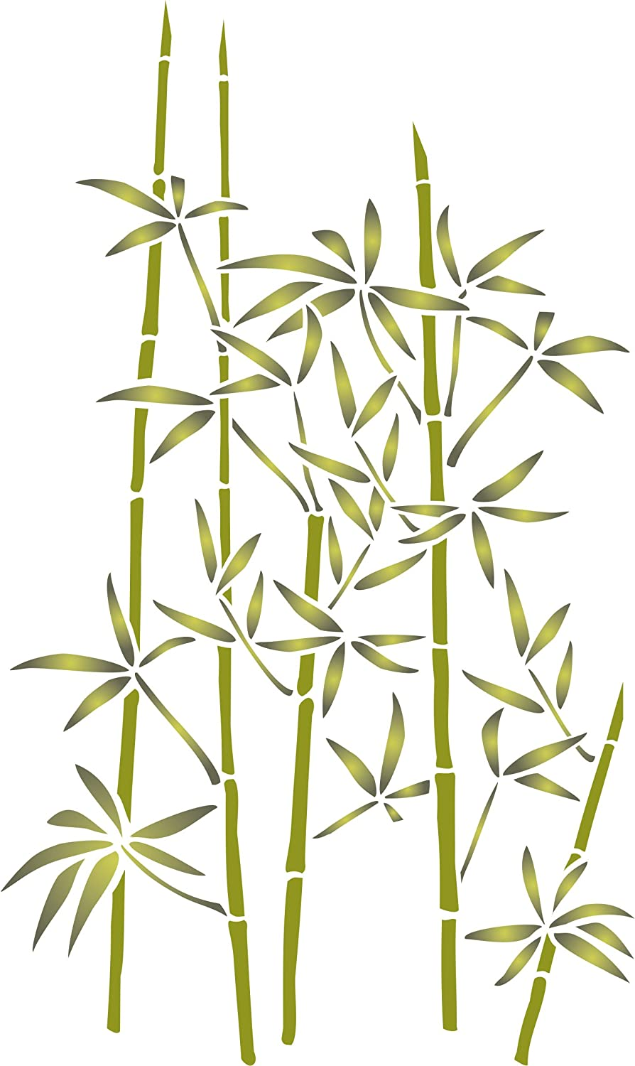 Bamboo Stencil, 10 x 16 inch (L) - Classic Oriental Plant Leaves Wall Stencils for Painting Template