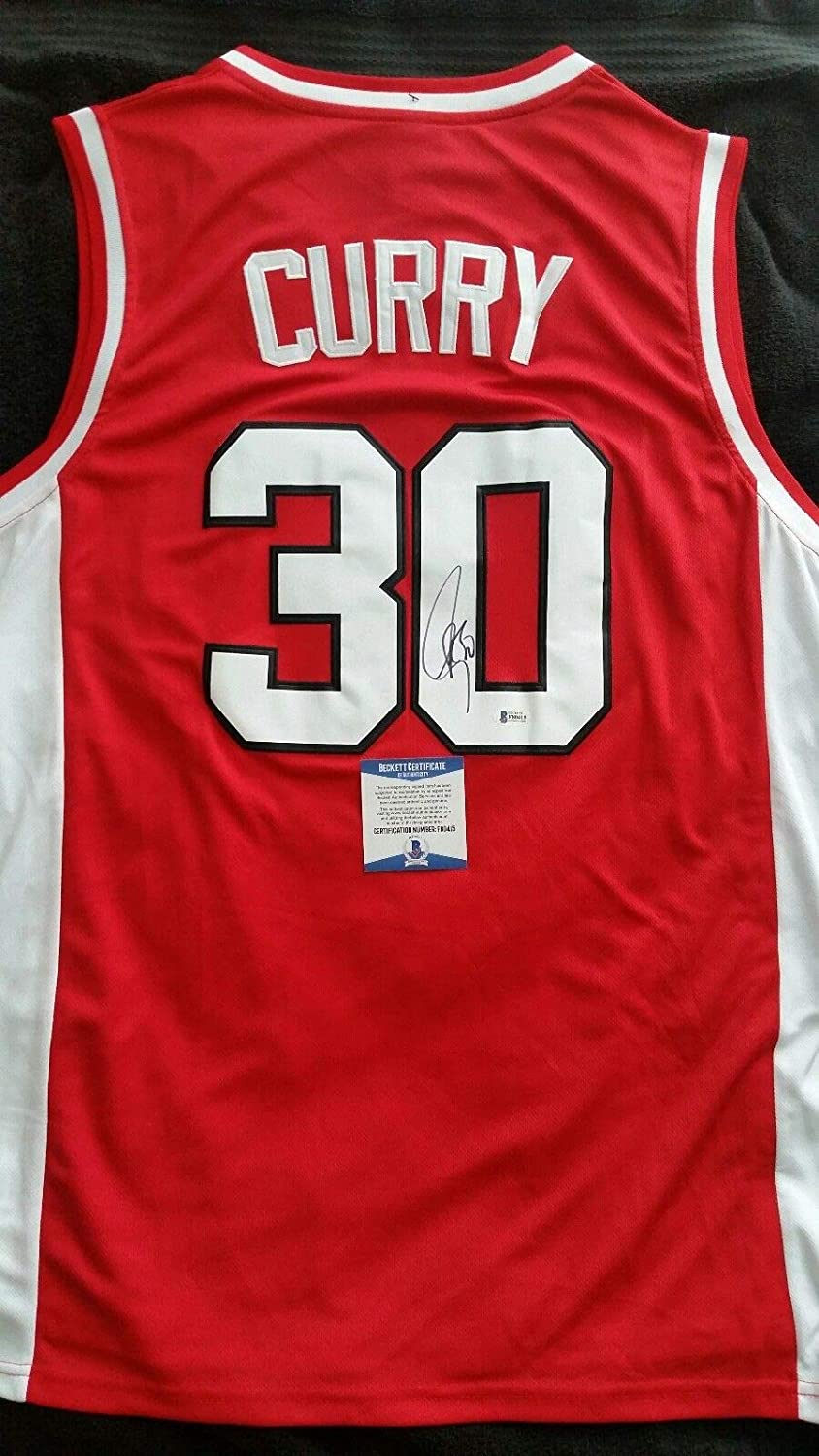 7f59e30d90f4 Stephen Curry Autographed Signed Red Davidson Wildcats Jersey with Beckett  COA NBA Warriors - Size XL at Amazon s Sports Collectibles Store