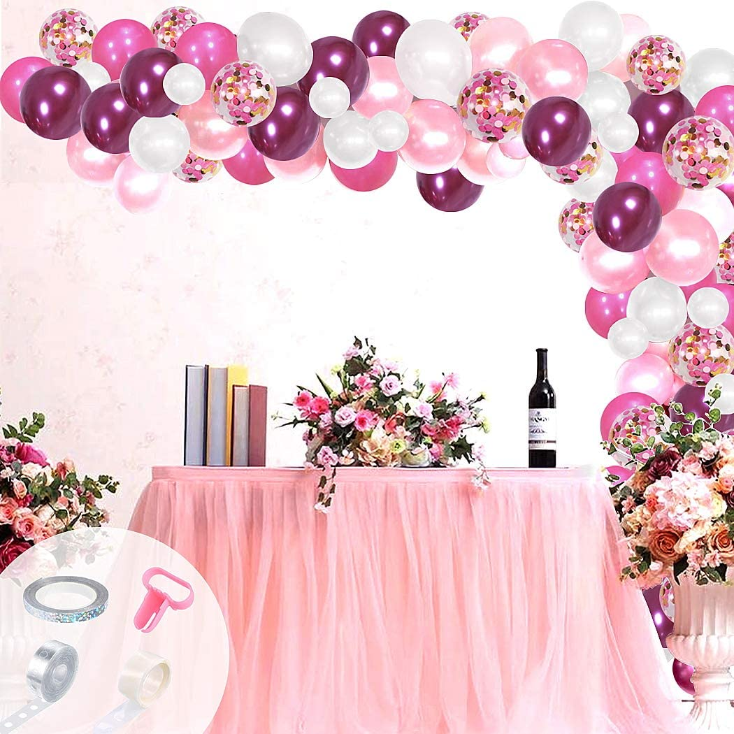 Wedding 9 Pc Set,Pink Balloon Birthday Balloons Bachlorette Party Bridal Pink Confetti Balloon,Pink and Gold Confetti Baby Girl Shower
