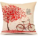 Red Tree and Love Bicycle Throw Pillow Case Cushion Cover Cotton Linen 18 x 18 Inch Valentine's Day Home Decoration(Sweet Heart)