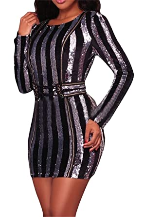 a4e2634f GRMO-Women Sexy Sequin Dress Striped Bandage Bodycon Club Dresses Silver US  XS