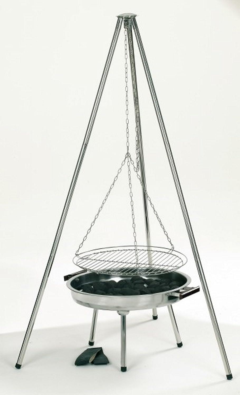 Dreibein-Schwenkgrill-Edelstahl, Maße: 89 x 147 x 76 cm, Grillfläche-D.: 50 cm, 8 kg, Tragegriffe, höhenverstellbar