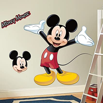 Amazon.com: Giant MICKEY MOUSE WALL DECAL Disney Bedroom Stickers ...
